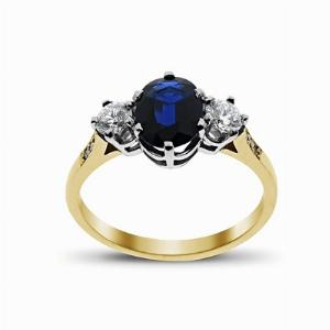 Sapphire & Diamond Yellow Gold Three Stone Ring 8 x 6 mm